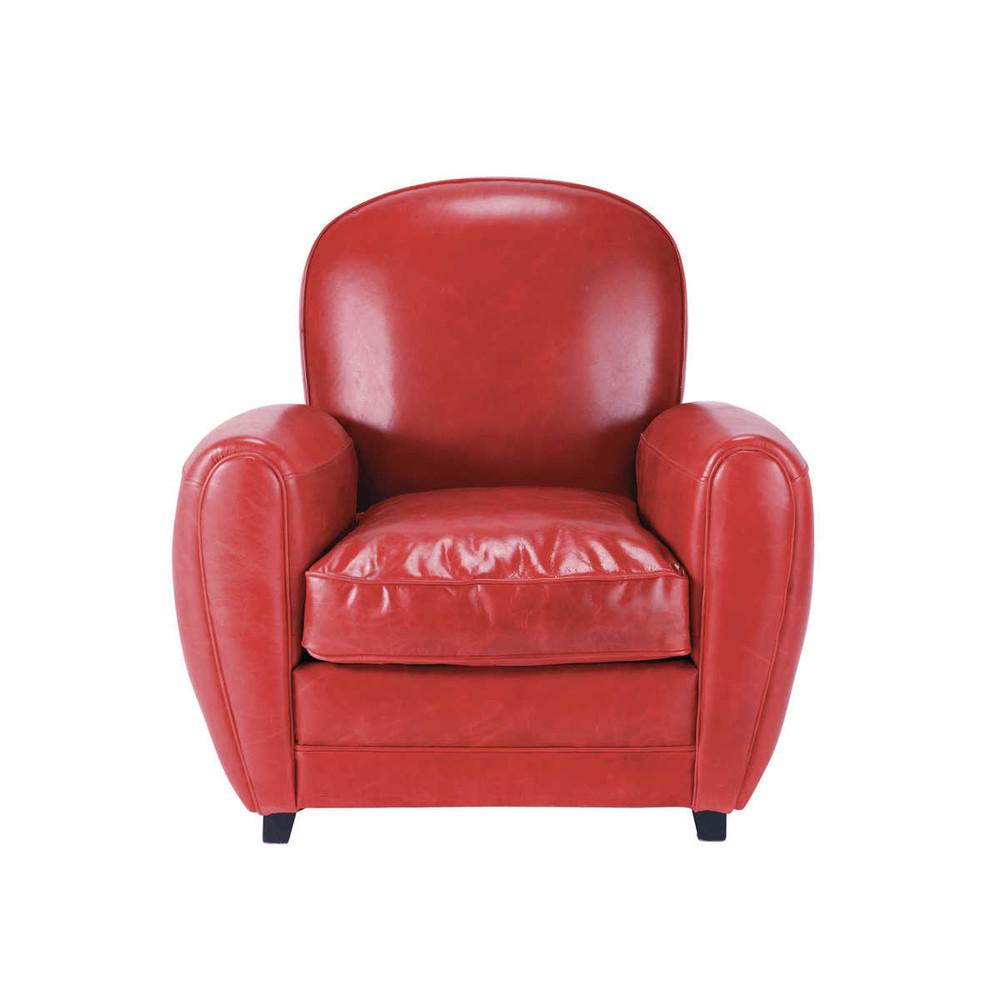 fauteuil cuir rouge vintage oxford maisons du monde. Black Bedroom Furniture Sets. Home Design Ideas