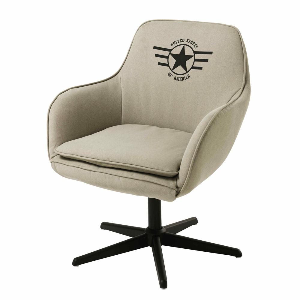 fauteuil de bureau en coton beige douglas maisons du monde. Black Bedroom Furniture Sets. Home Design Ideas