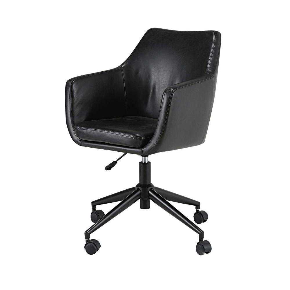 Fauteuil de bureau en textile enduit noir vieilli davis - Fauteuil bureau industriel ...