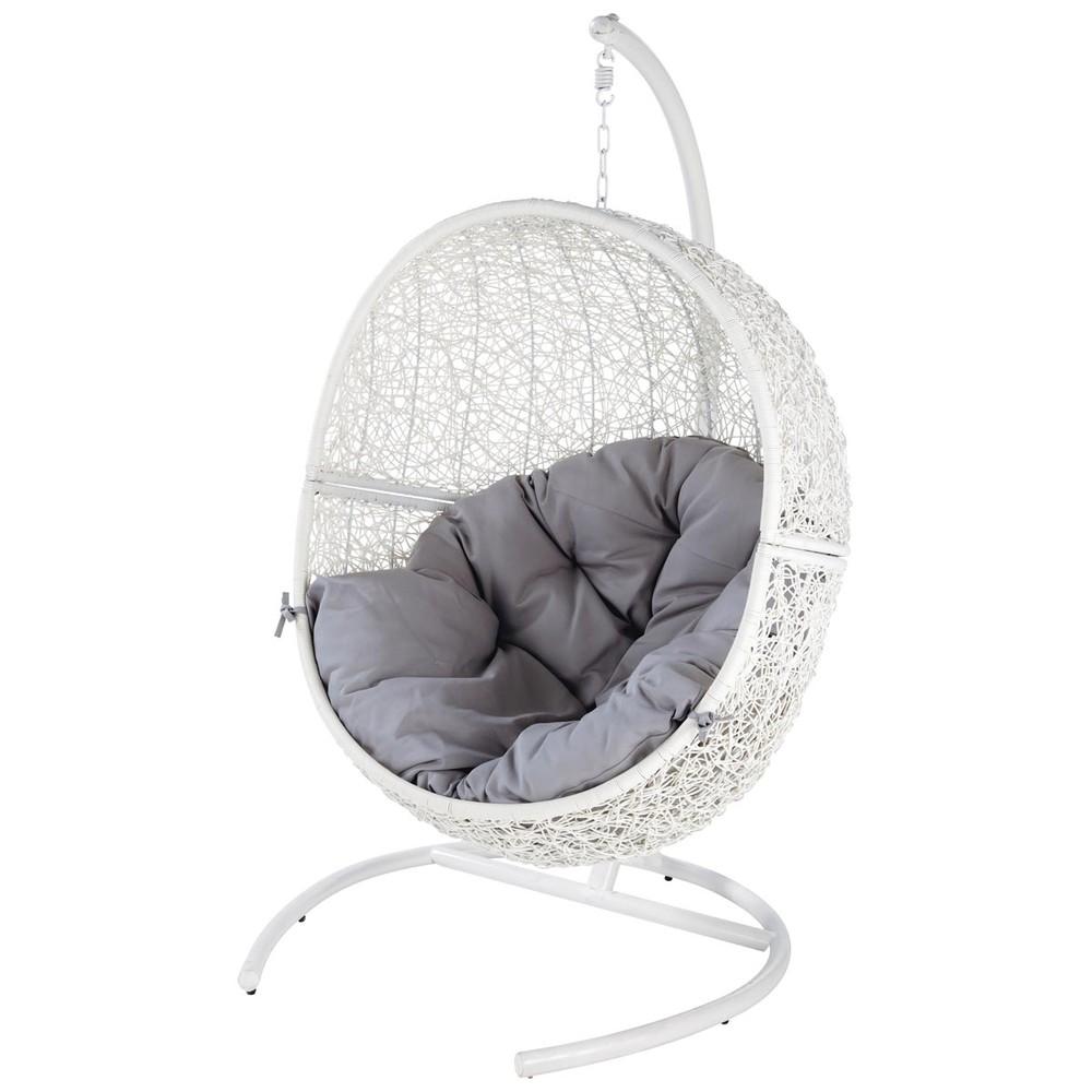 Fauteuil de jardin blanc cocon maisons du monde - Maison du monde fauteuil suspendu ...
