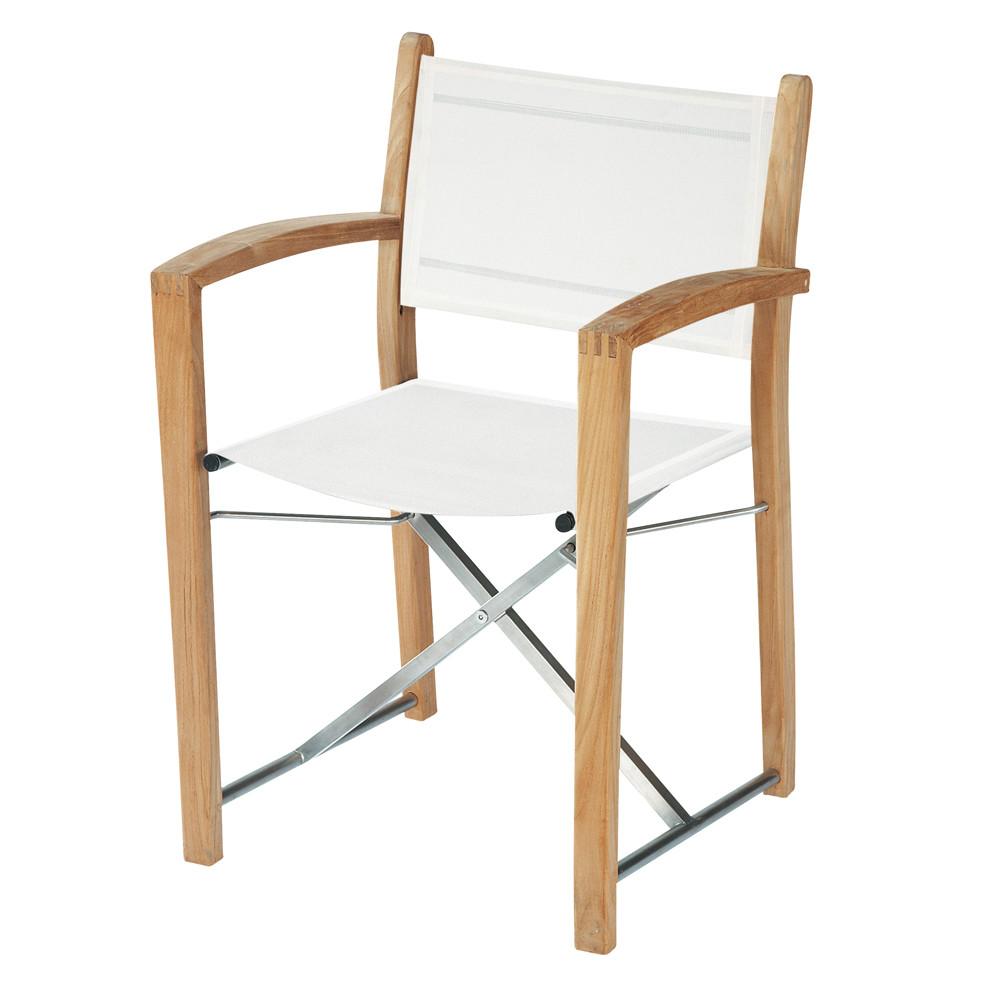 fauteuil de jardin blanc teck et acier capri maisons du monde. Black Bedroom Furniture Sets. Home Design Ideas