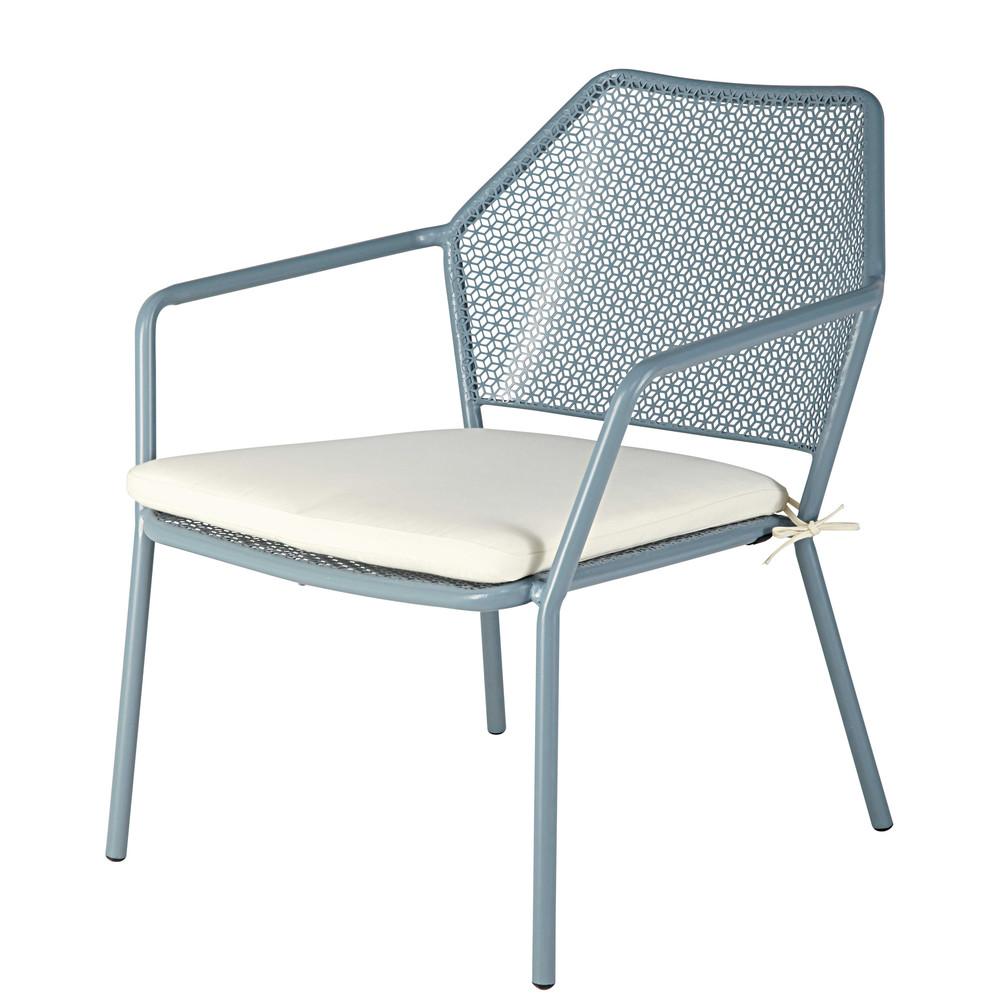 fauteuil de jardin empilable en m tal bleu clair et coussin blanc maldives maisons du monde. Black Bedroom Furniture Sets. Home Design Ideas