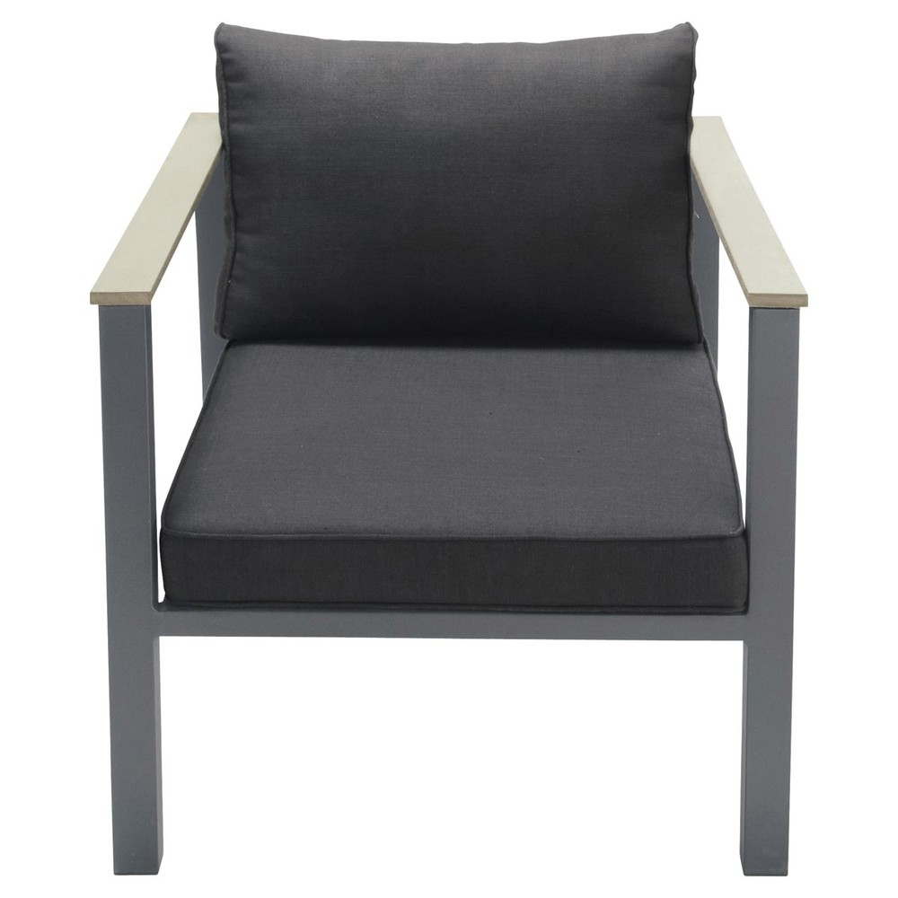 fauteuil de jardin en aluminium anthracite bergame maisons du monde. Black Bedroom Furniture Sets. Home Design Ideas