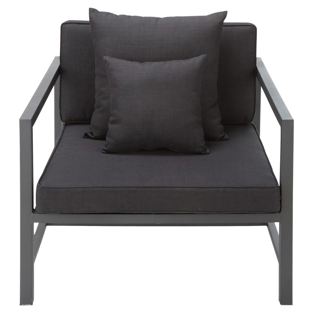 fauteuil de jardin en aluminium anthracite ithaque maisons du monde. Black Bedroom Furniture Sets. Home Design Ideas
