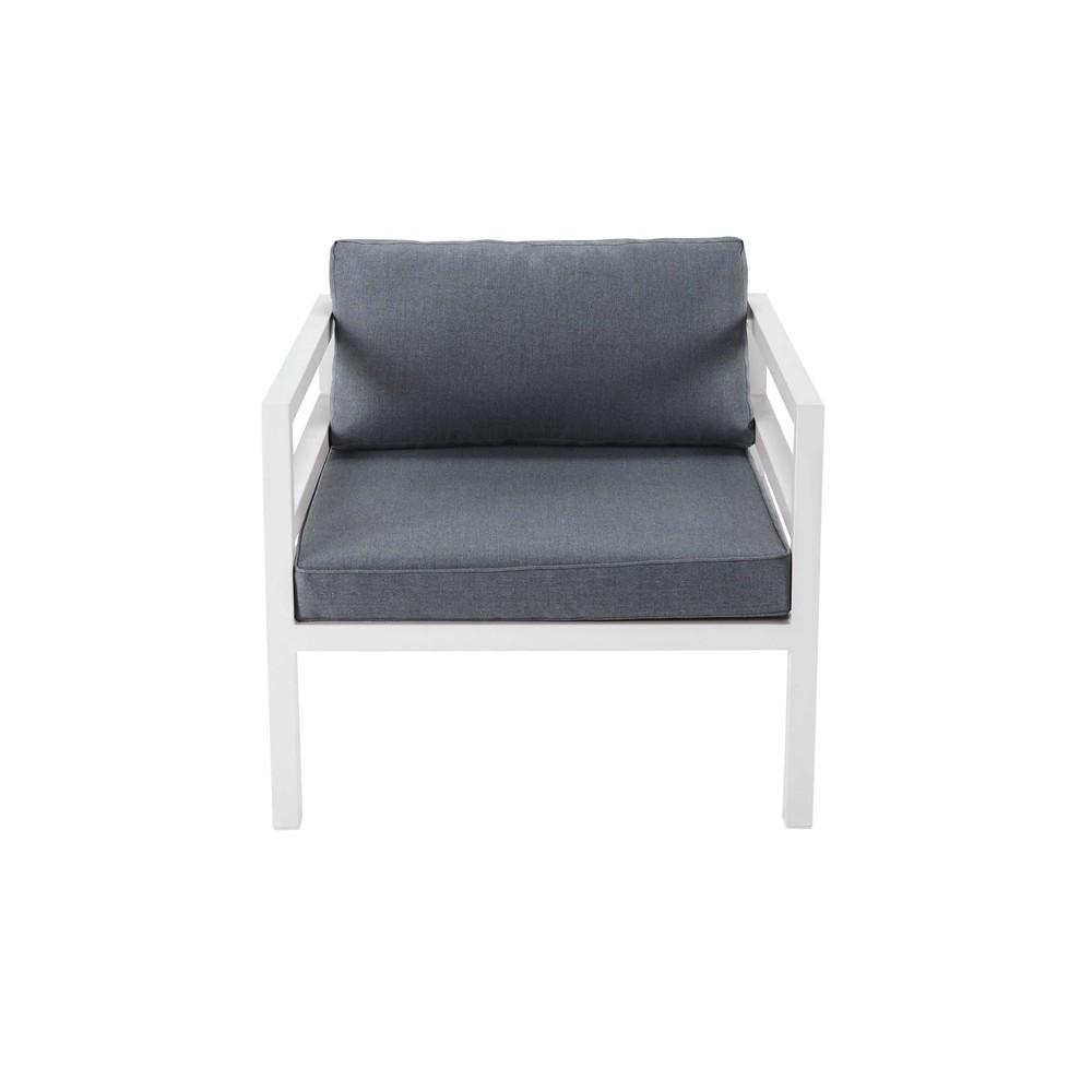 fauteuil de jardin en aluminium blanc et tissu gris riviera maisons du monde. Black Bedroom Furniture Sets. Home Design Ideas