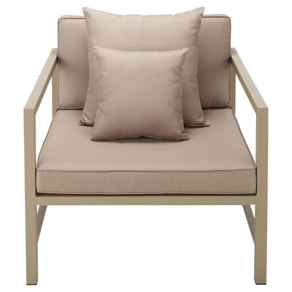 fauteuil de jardin en aluminium taupe ithaque maisons du monde. Black Bedroom Furniture Sets. Home Design Ideas