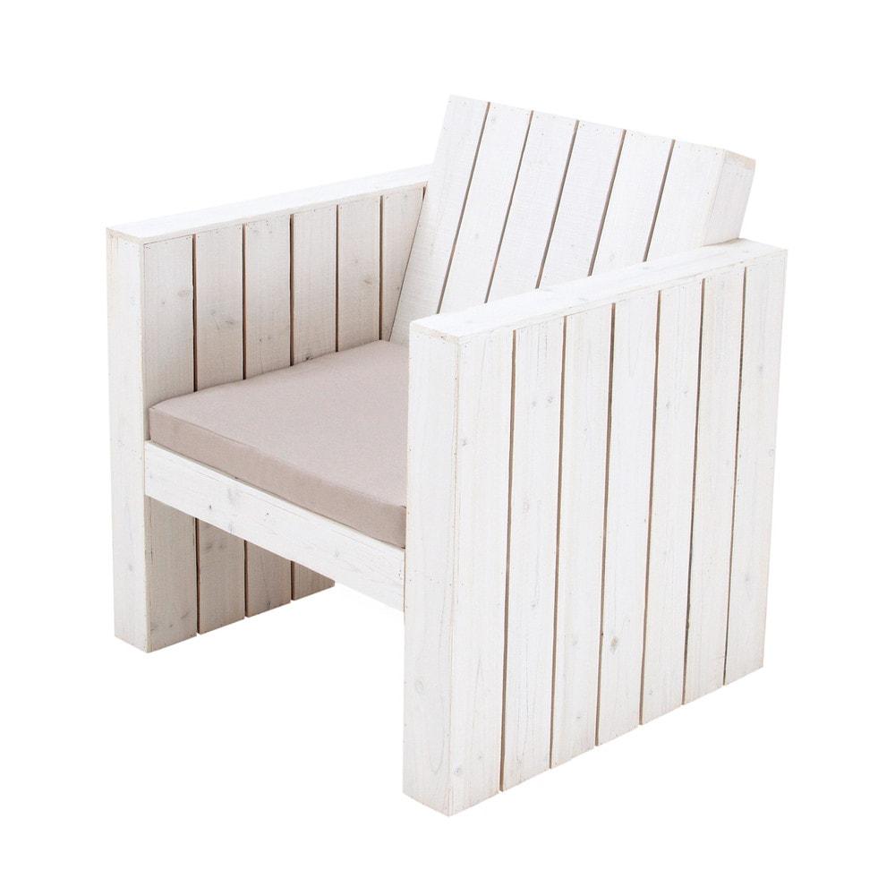 Fauteuil de jardin en bois blanc faro maisons du monde - Fauteuil jardin blanc ...