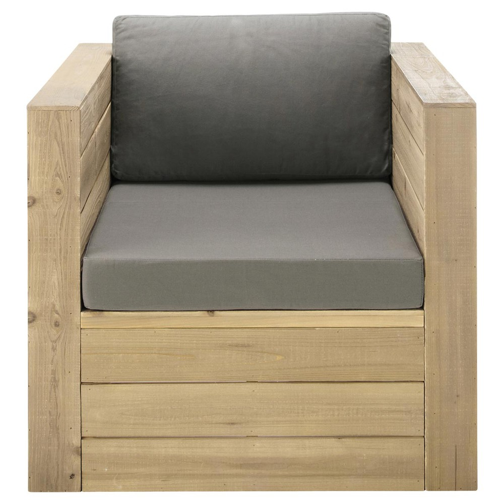 fauteuil de jardin en bois gris brehat maisons du monde. Black Bedroom Furniture Sets. Home Design Ideas