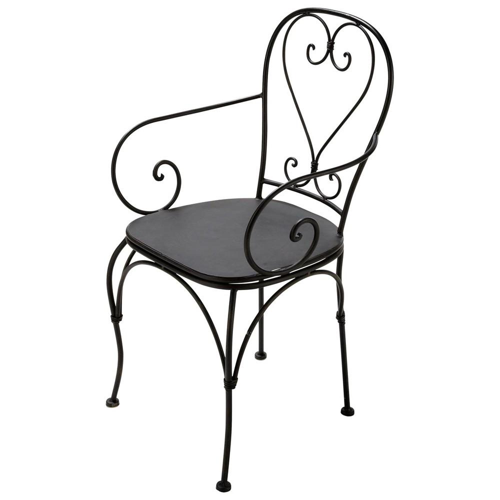 Fauteuil de jardin en fer forg marron saint germain for Chaise fer forge maison du monde