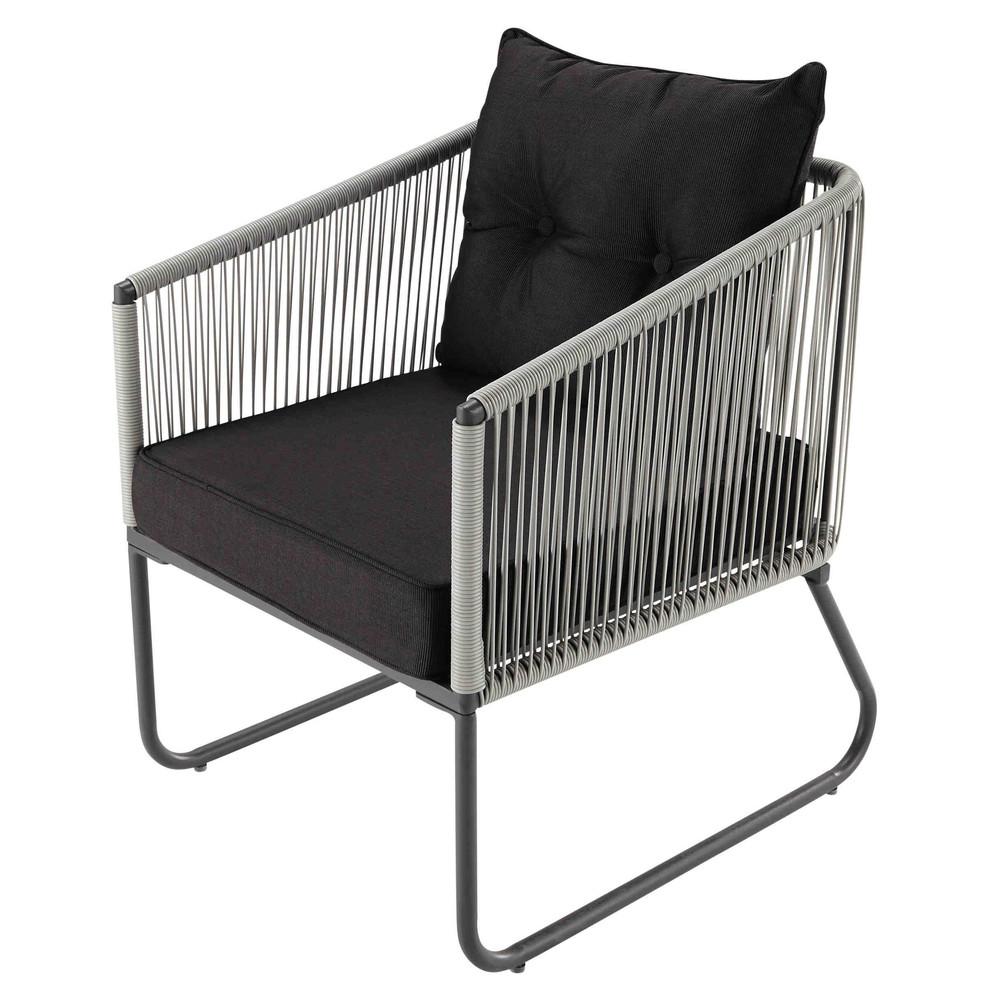 fauteuil de jardin en r sine et tissu noir swann maisons. Black Bedroom Furniture Sets. Home Design Ideas