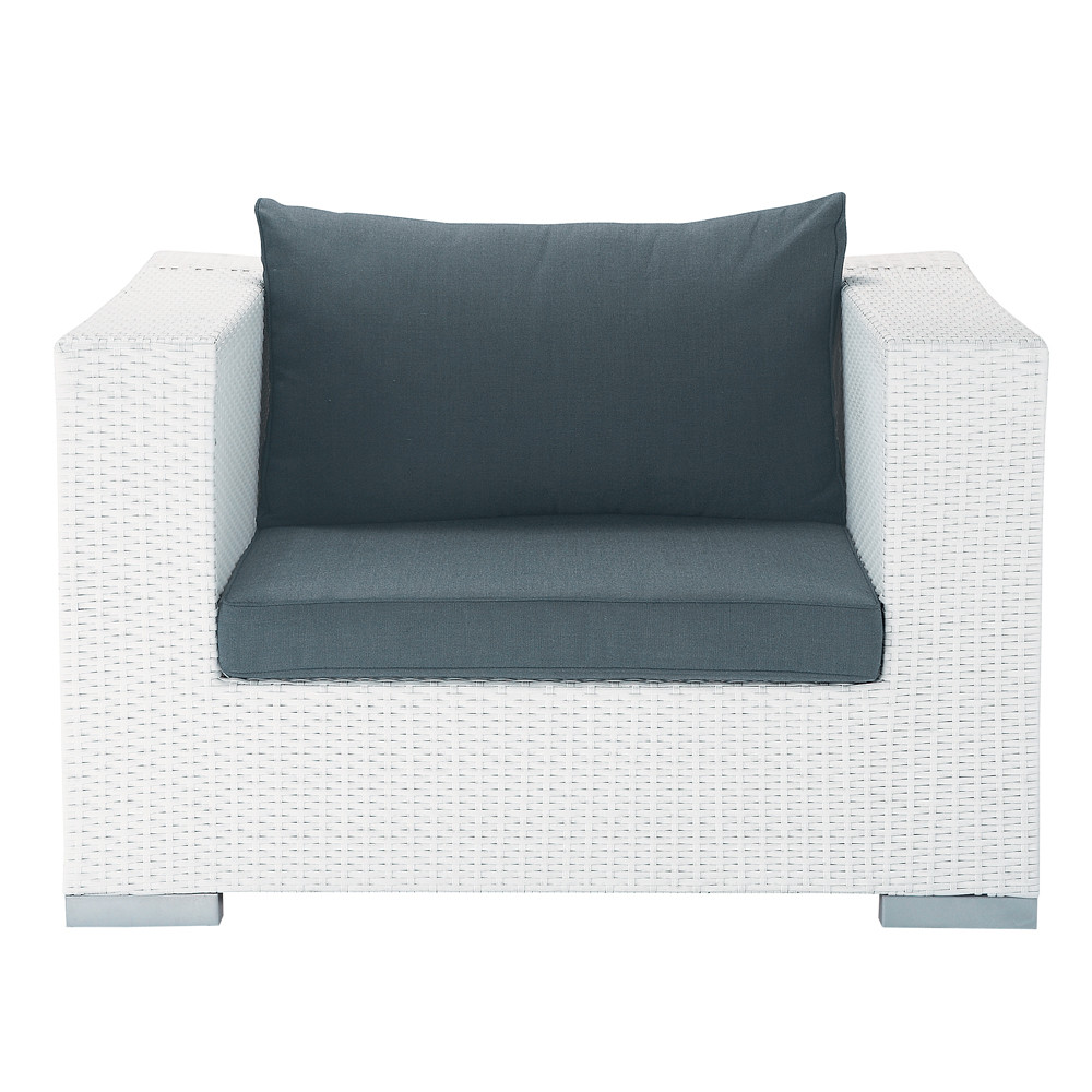 fauteuil de jardin en r sine tress e blanc antibes. Black Bedroom Furniture Sets. Home Design Ideas