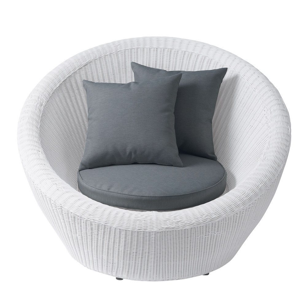 fauteuil de jardin en r sine tress e blanc mykonos maisons du monde. Black Bedroom Furniture Sets. Home Design Ideas