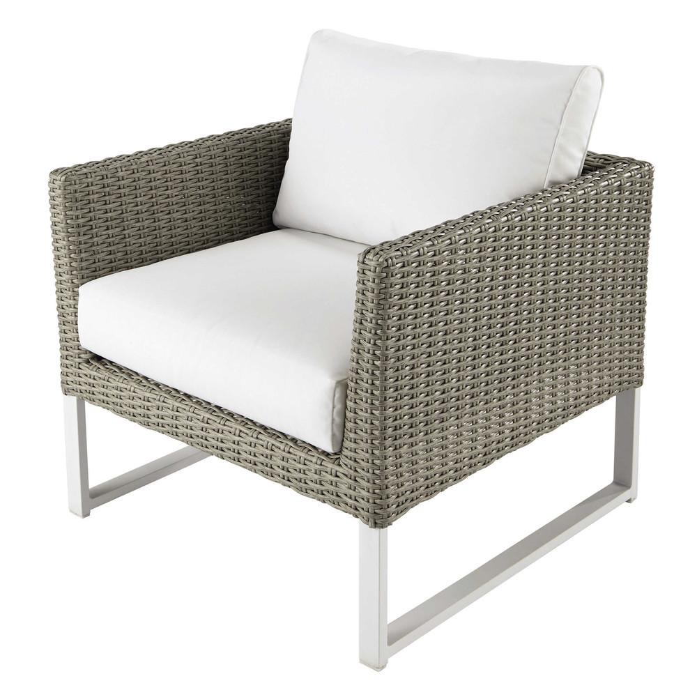 fauteuil de jardin en r sine tress e et tissu blanc lodge maisons du monde. Black Bedroom Furniture Sets. Home Design Ideas
