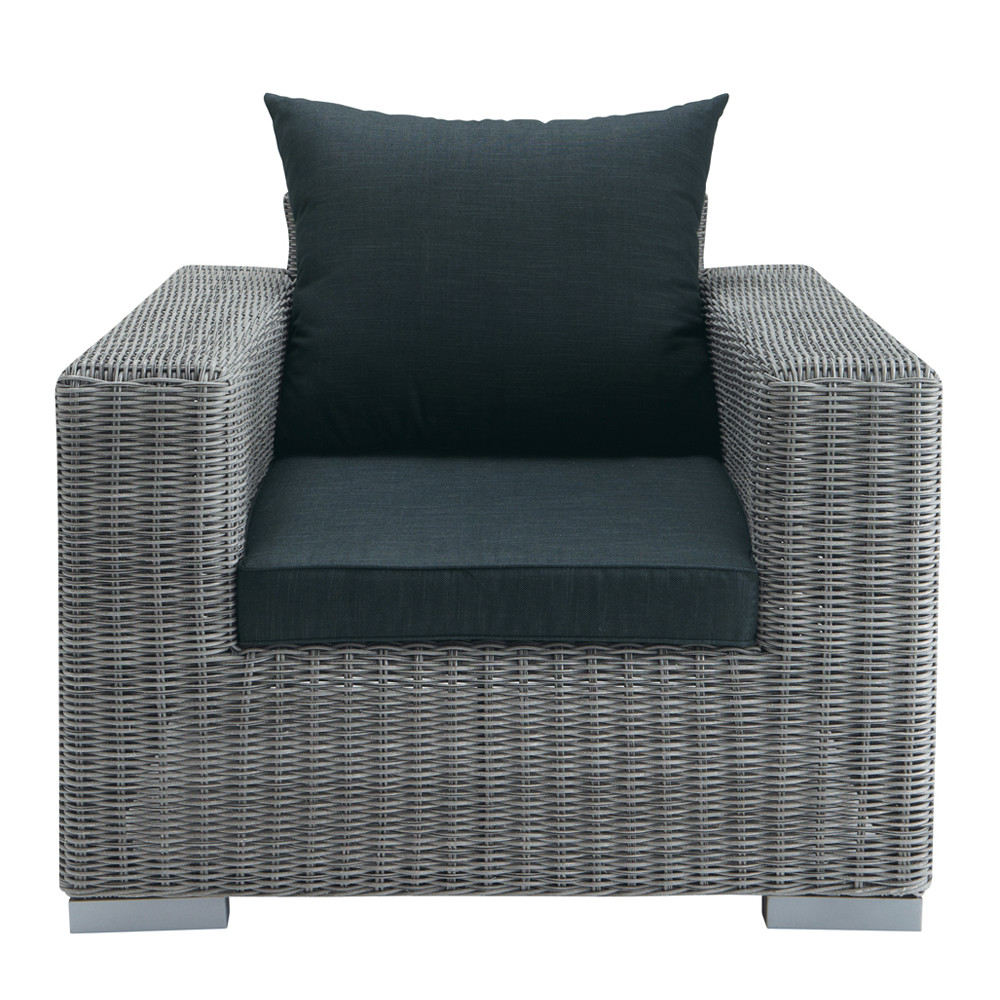 fauteuil de jardin en r sine tress e gris bosphore. Black Bedroom Furniture Sets. Home Design Ideas