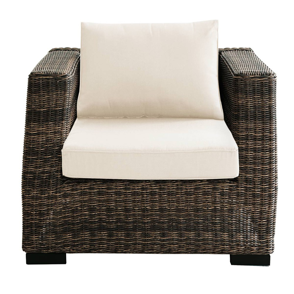 fauteuil de jardin en r sine tress e marron bali maisons du monde. Black Bedroom Furniture Sets. Home Design Ideas