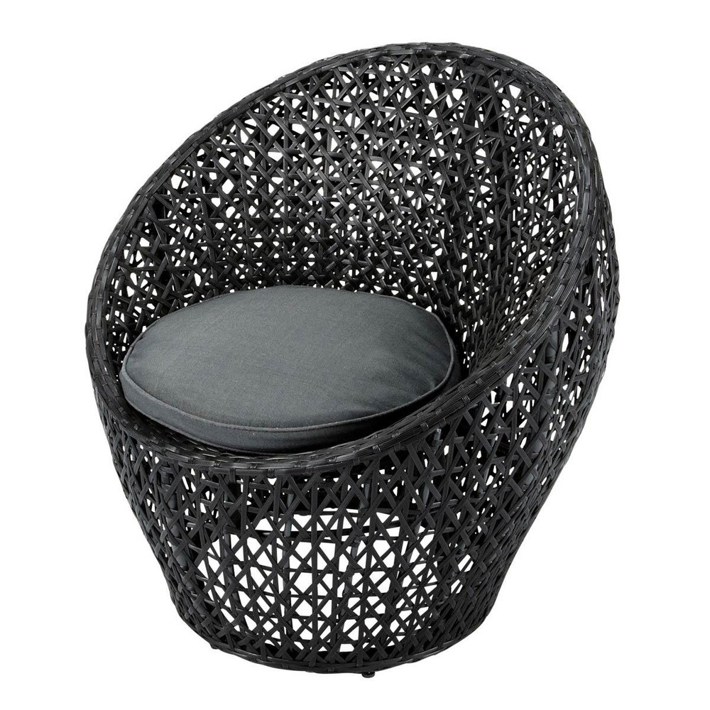 fauteuil de jardin en r sine tress e noir durban maisons. Black Bedroom Furniture Sets. Home Design Ideas