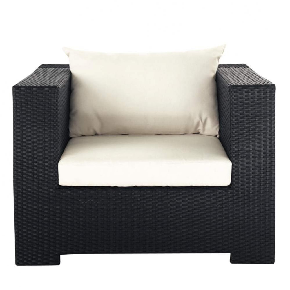 fauteuil de jardin en r sine tress e noir miami maisons du monde. Black Bedroom Furniture Sets. Home Design Ideas