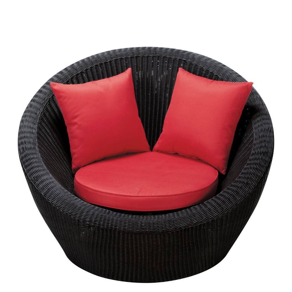 fauteuil de jardin en r sine tress e noir porto vecchio. Black Bedroom Furniture Sets. Home Design Ideas