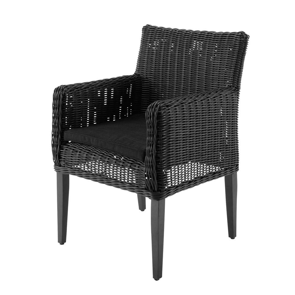 fauteuil de jardin en r sine tress e noire cendre porto. Black Bedroom Furniture Sets. Home Design Ideas