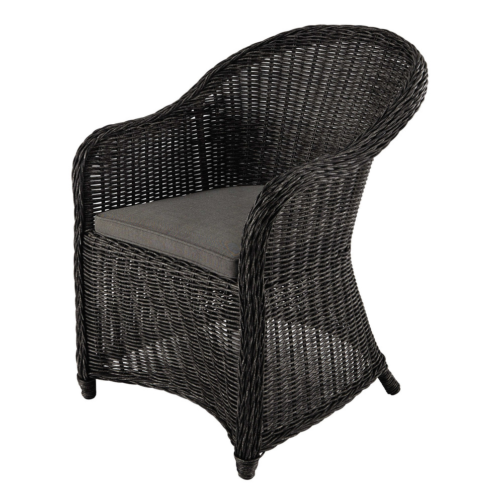 fauteuil de jardin en r sine tress e noire napoli maisons du monde. Black Bedroom Furniture Sets. Home Design Ideas