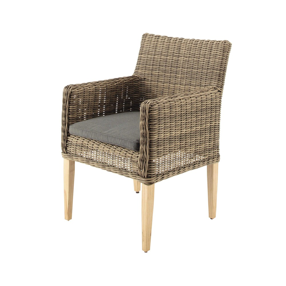 fauteuil de jardin en r sine tress e saint rapha l maisons du monde. Black Bedroom Furniture Sets. Home Design Ideas
