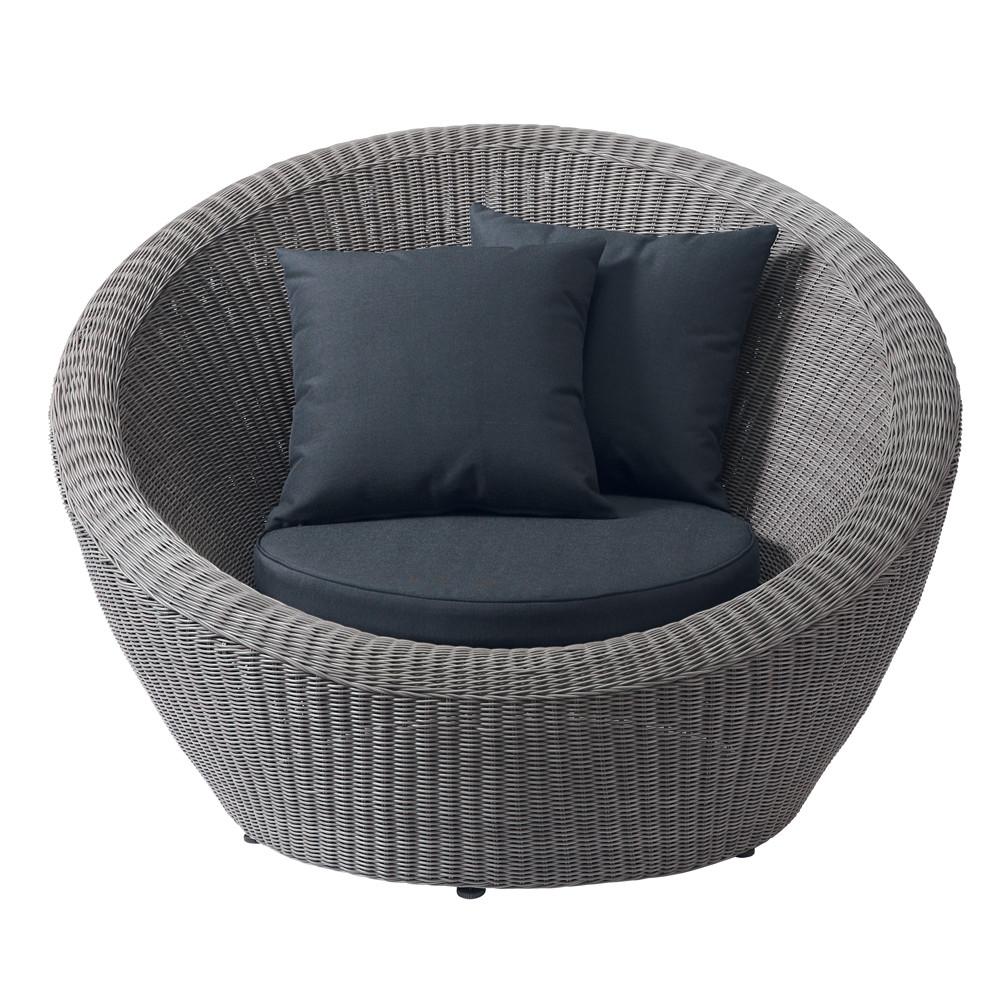 fauteuil de jardin en r sine tress e taupe palerme maisons du monde. Black Bedroom Furniture Sets. Home Design Ideas