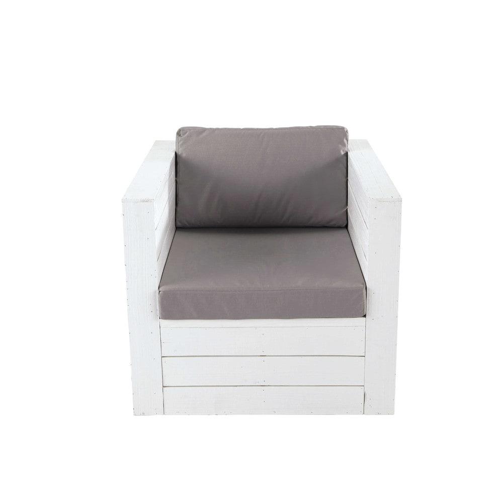 fauteuil de jardin en sapin blanc brehat maisons du monde. Black Bedroom Furniture Sets. Home Design Ideas