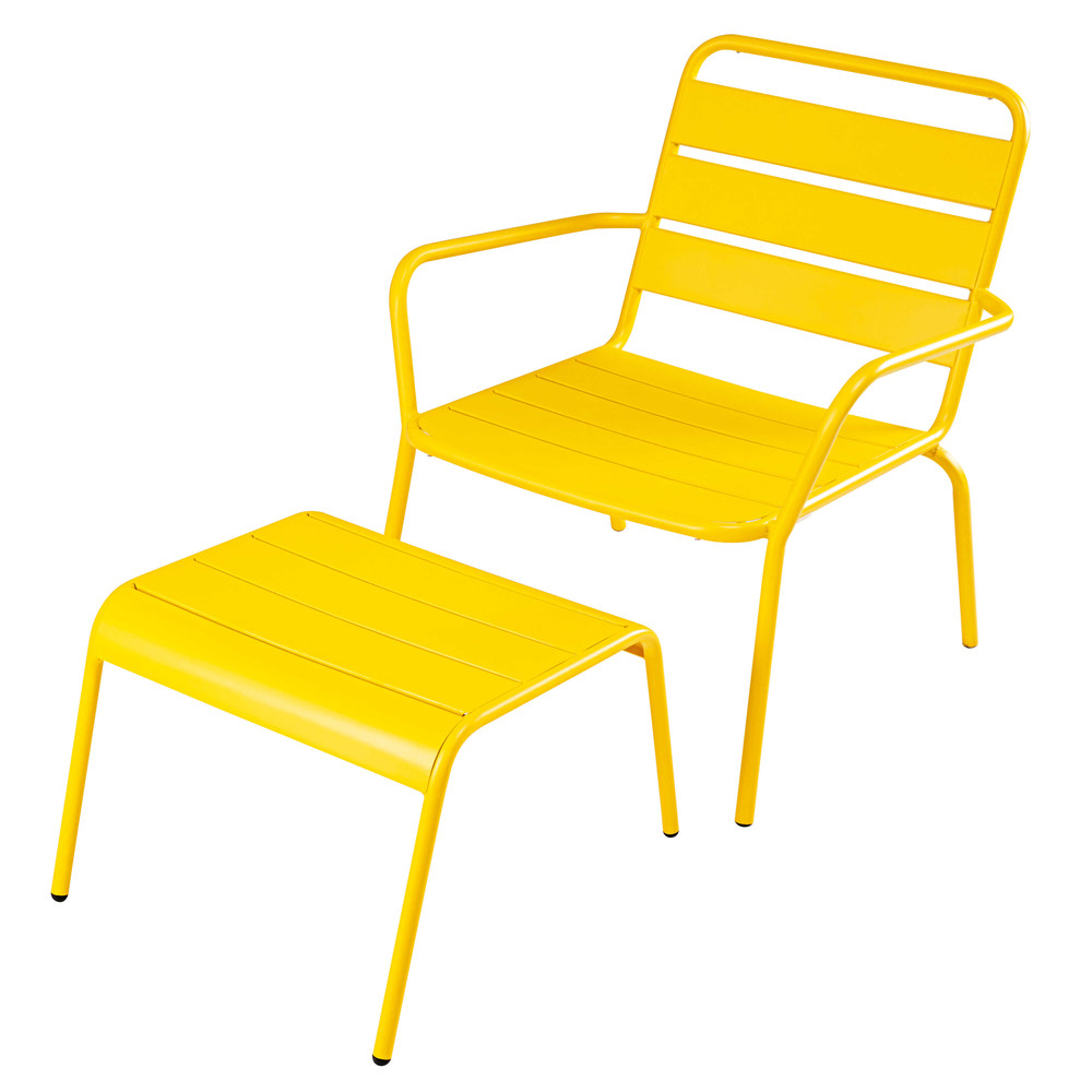 fauteuil de jardin et repose pieds en m tal jaune. Black Bedroom Furniture Sets. Home Design Ideas