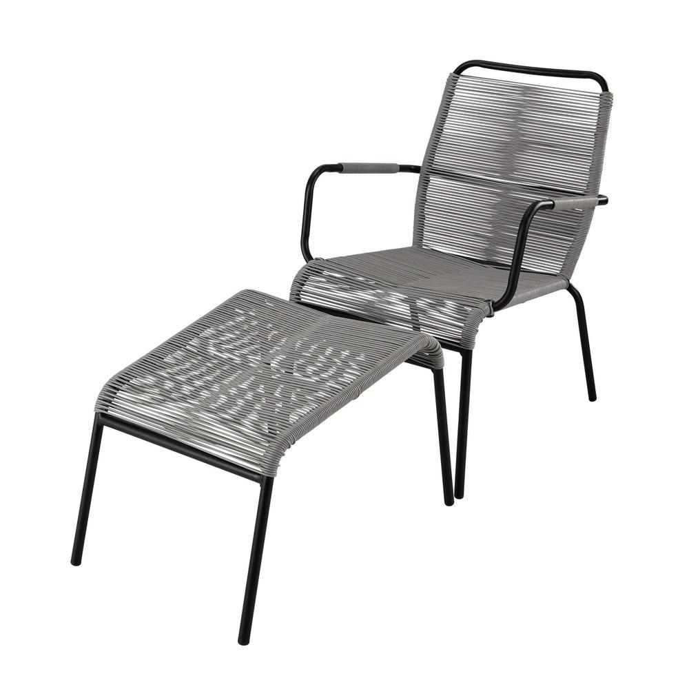 fauteuil de jardin repose pied en poly thyl ne et m tal anthracite scoubi maisons du monde. Black Bedroom Furniture Sets. Home Design Ideas