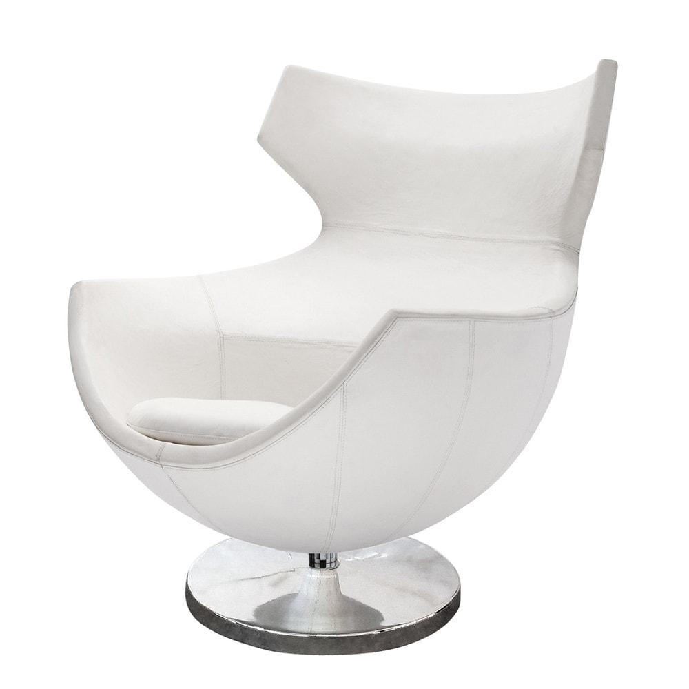 fauteuil de salon cuir vintage blanc guariche jupiter maisons du monde. Black Bedroom Furniture Sets. Home Design Ideas