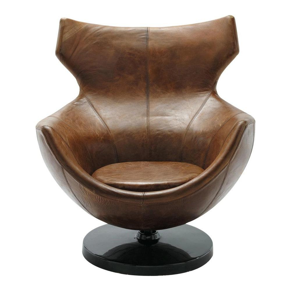 fauteuil de salon cuir vintage marron guariche jupiter maisons du monde. Black Bedroom Furniture Sets. Home Design Ideas