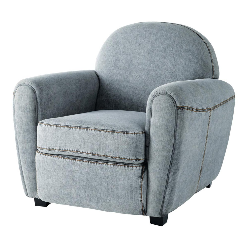 fauteuil de salon denim gris steeve maisons du monde. Black Bedroom Furniture Sets. Home Design Ideas