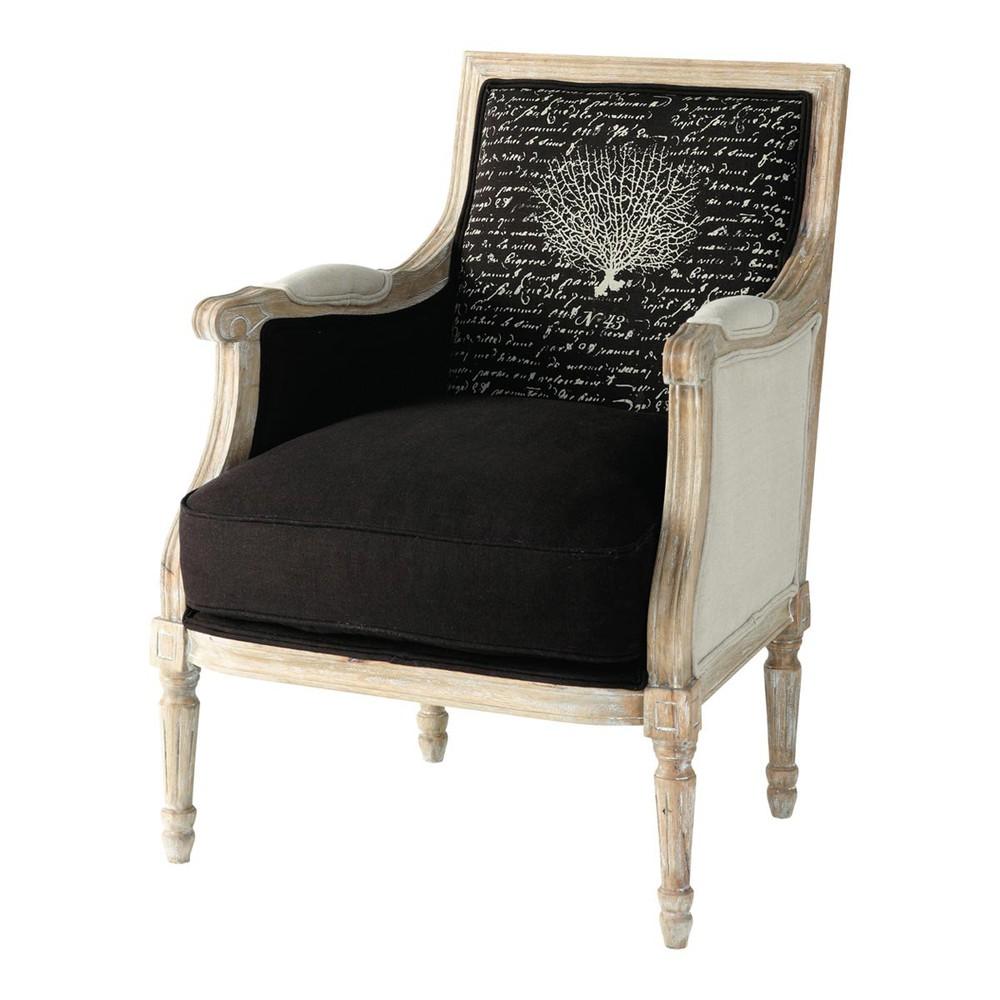 Fauteuil de salon lin noir casanova maisons du monde for Meuble fauteuil salon