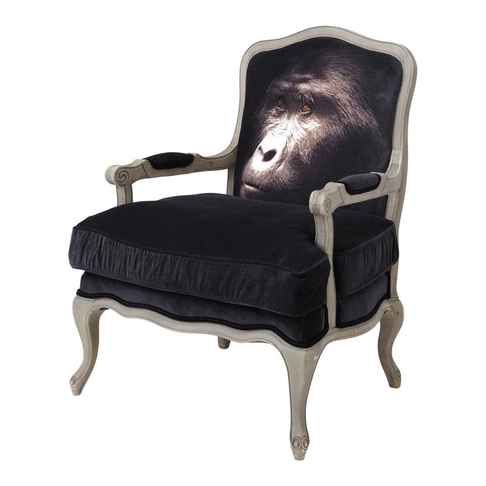 fauteuil de salon velours noir safari maisons du monde. Black Bedroom Furniture Sets. Home Design Ideas