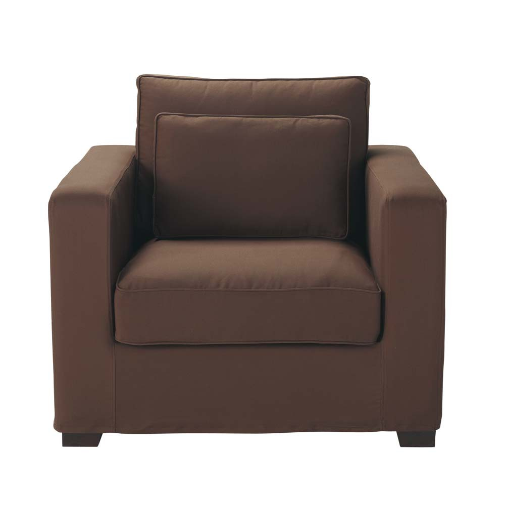 fauteuil en coton chocolat milano maisons du monde. Black Bedroom Furniture Sets. Home Design Ideas