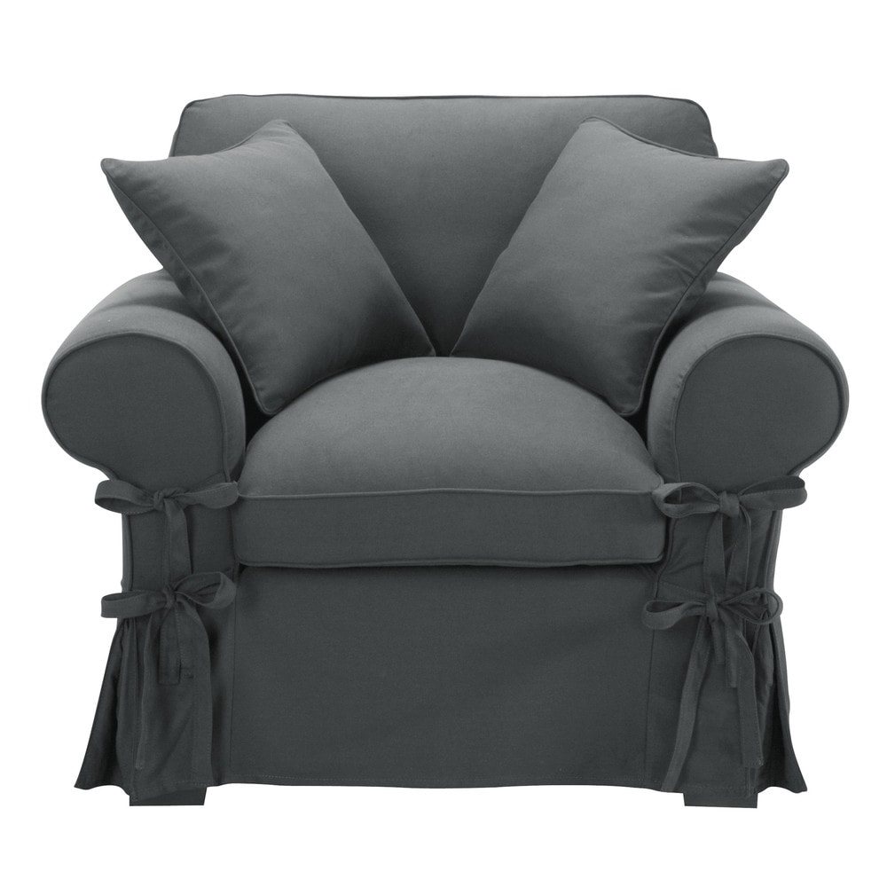 fauteuil en coton gris ardoise butterfly maisons du monde. Black Bedroom Furniture Sets. Home Design Ideas