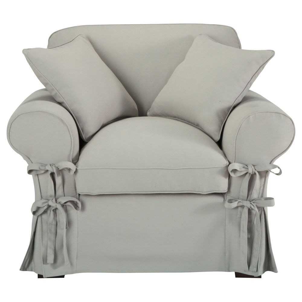fauteuil en coton gris clair butterfly maisons du monde. Black Bedroom Furniture Sets. Home Design Ideas