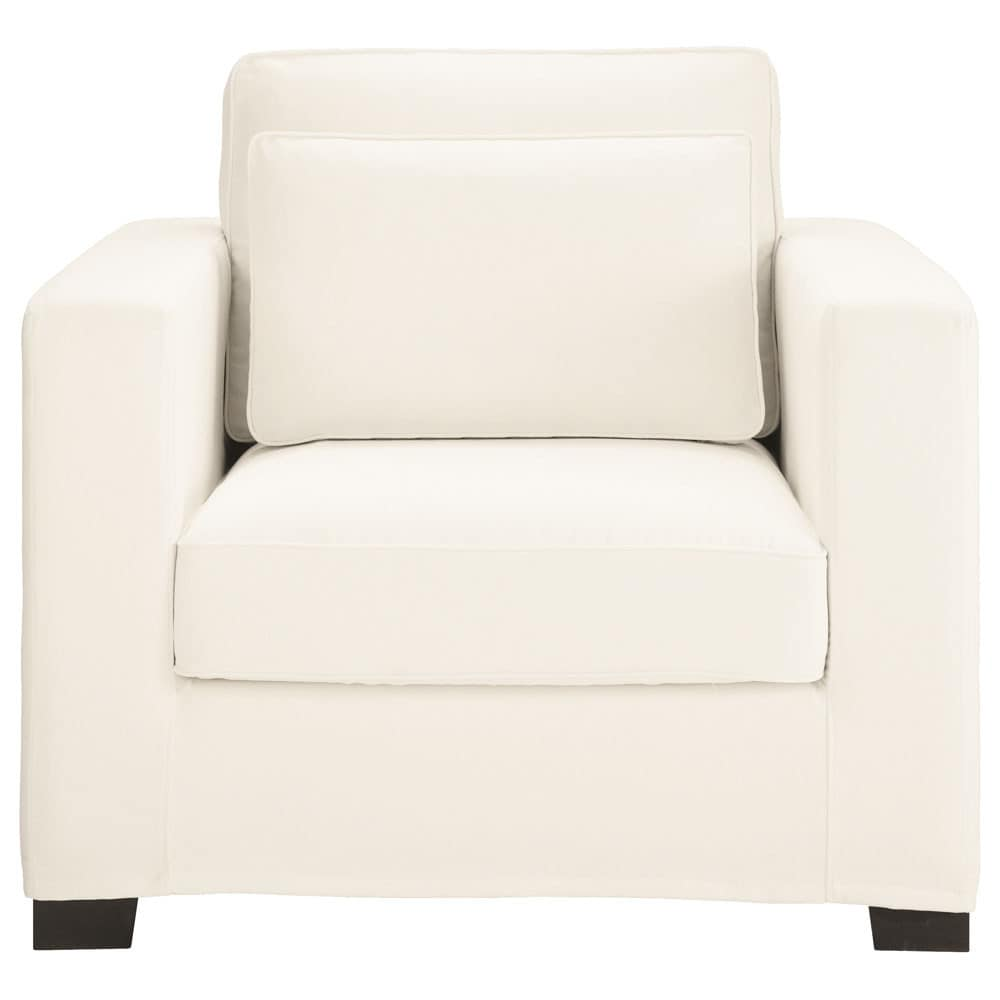 fauteuil en coton ivoire milano maisons du monde. Black Bedroom Furniture Sets. Home Design Ideas