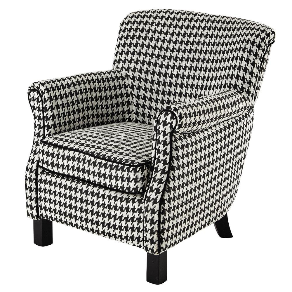 fauteuil en coton motif pied de poule noir blanc coco maisons du monde. Black Bedroom Furniture Sets. Home Design Ideas