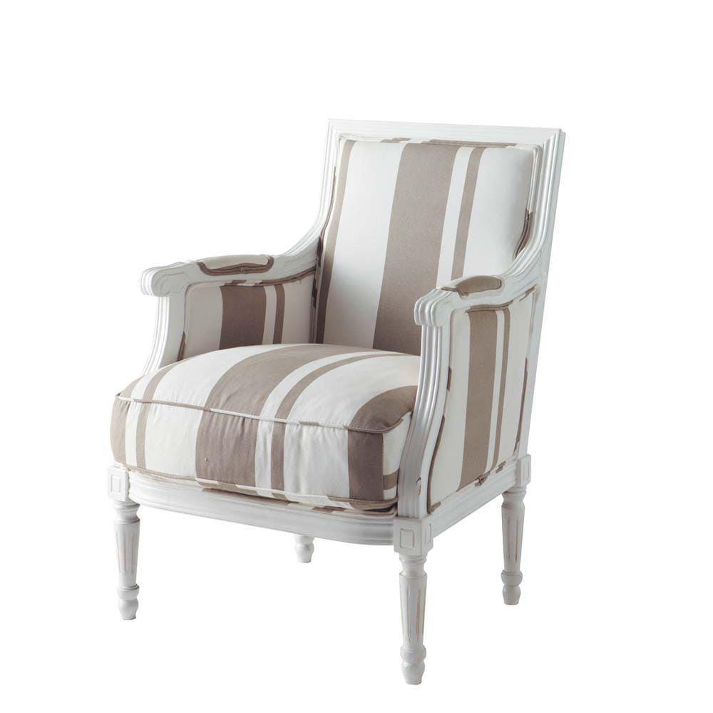 fauteuil en coton taupe et blanc casanova maisons du monde. Black Bedroom Furniture Sets. Home Design Ideas