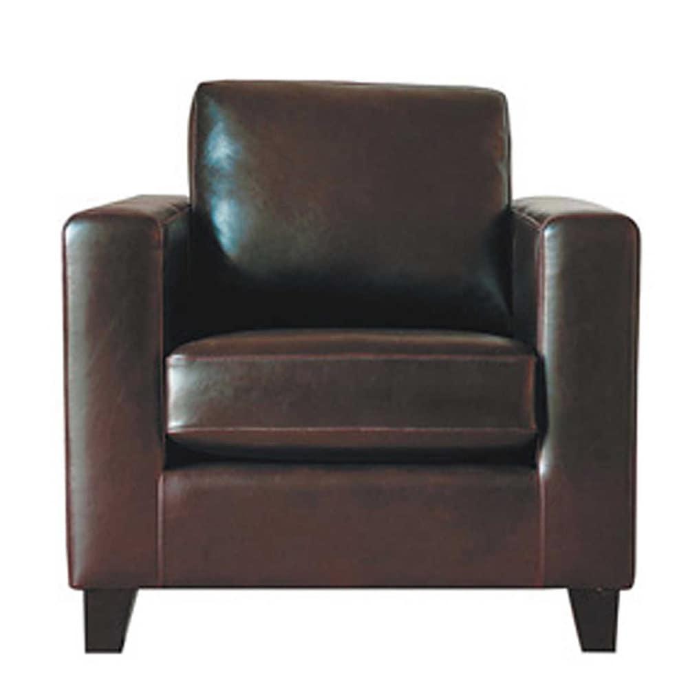 fauteuil en cro te de cuir chocolat kennedy maisons du monde. Black Bedroom Furniture Sets. Home Design Ideas
