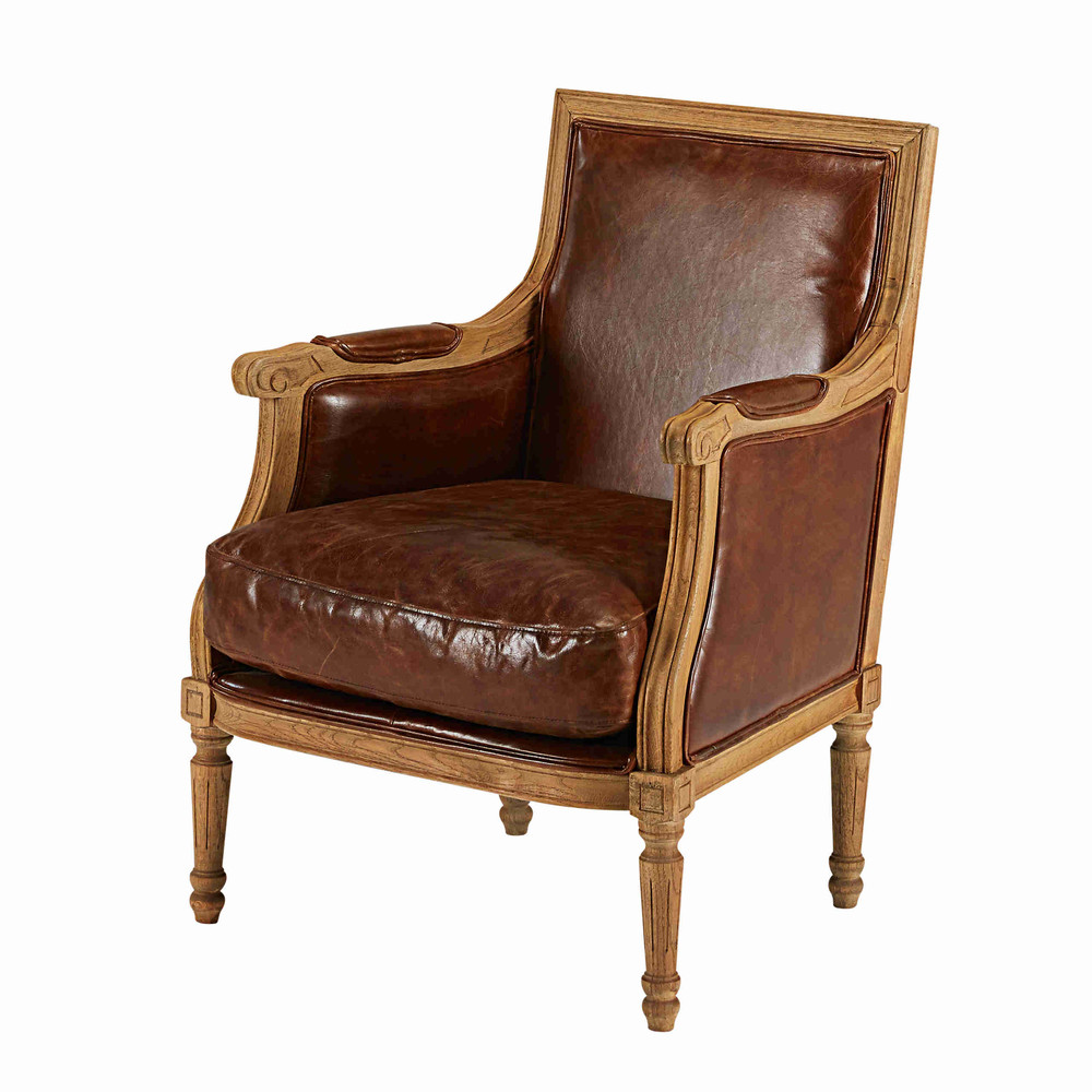 fauteuil en cuir de vachette marron vieilli casanova maisons du monde. Black Bedroom Furniture Sets. Home Design Ideas