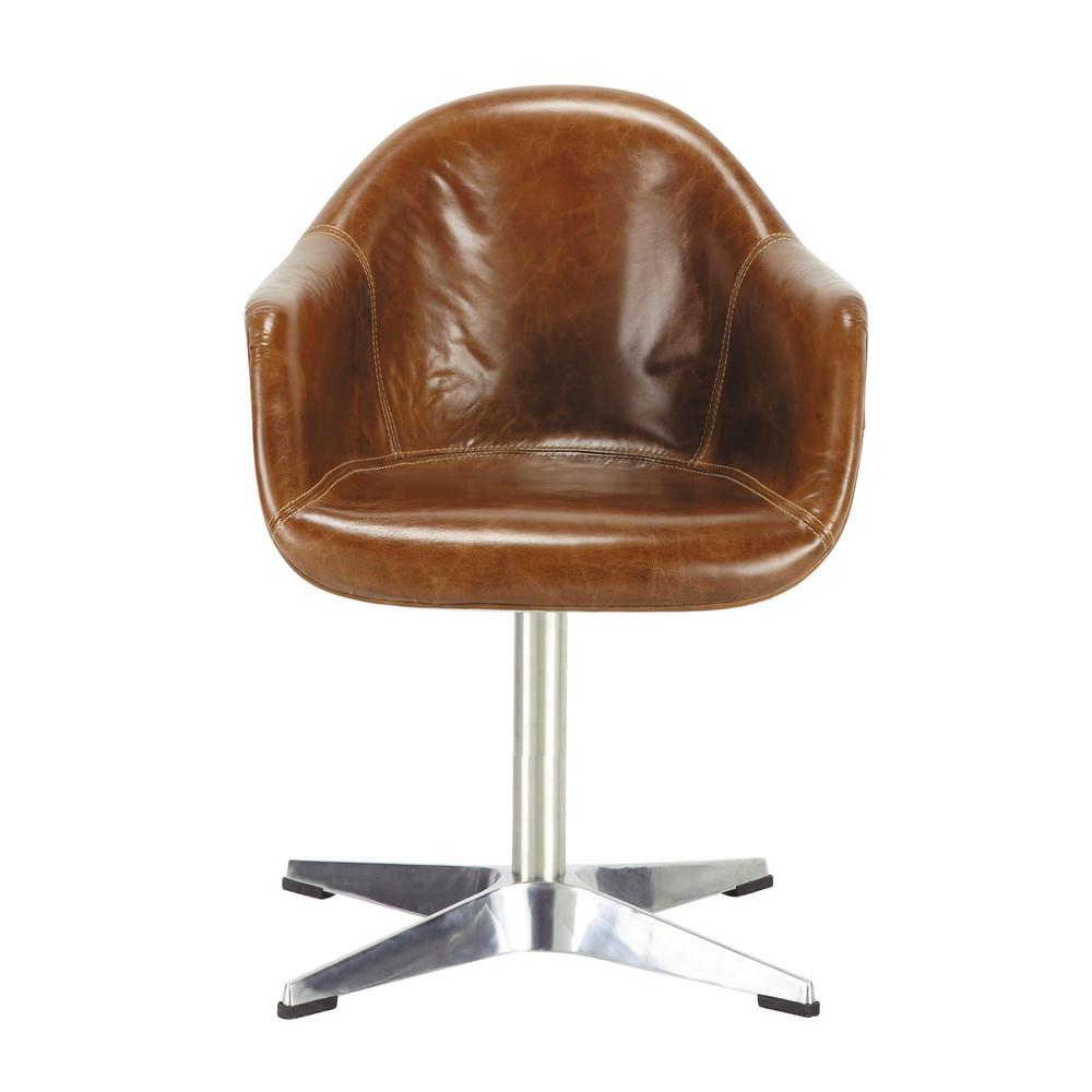 Fauteuil en cuir marron delta maisons du monde - La maison du fauteuil ...