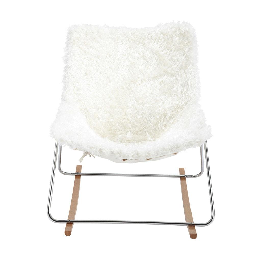 Fauteuil en fausse fourrure guariche en tissu ivoire g1 for Chaise medaillon maison du monde