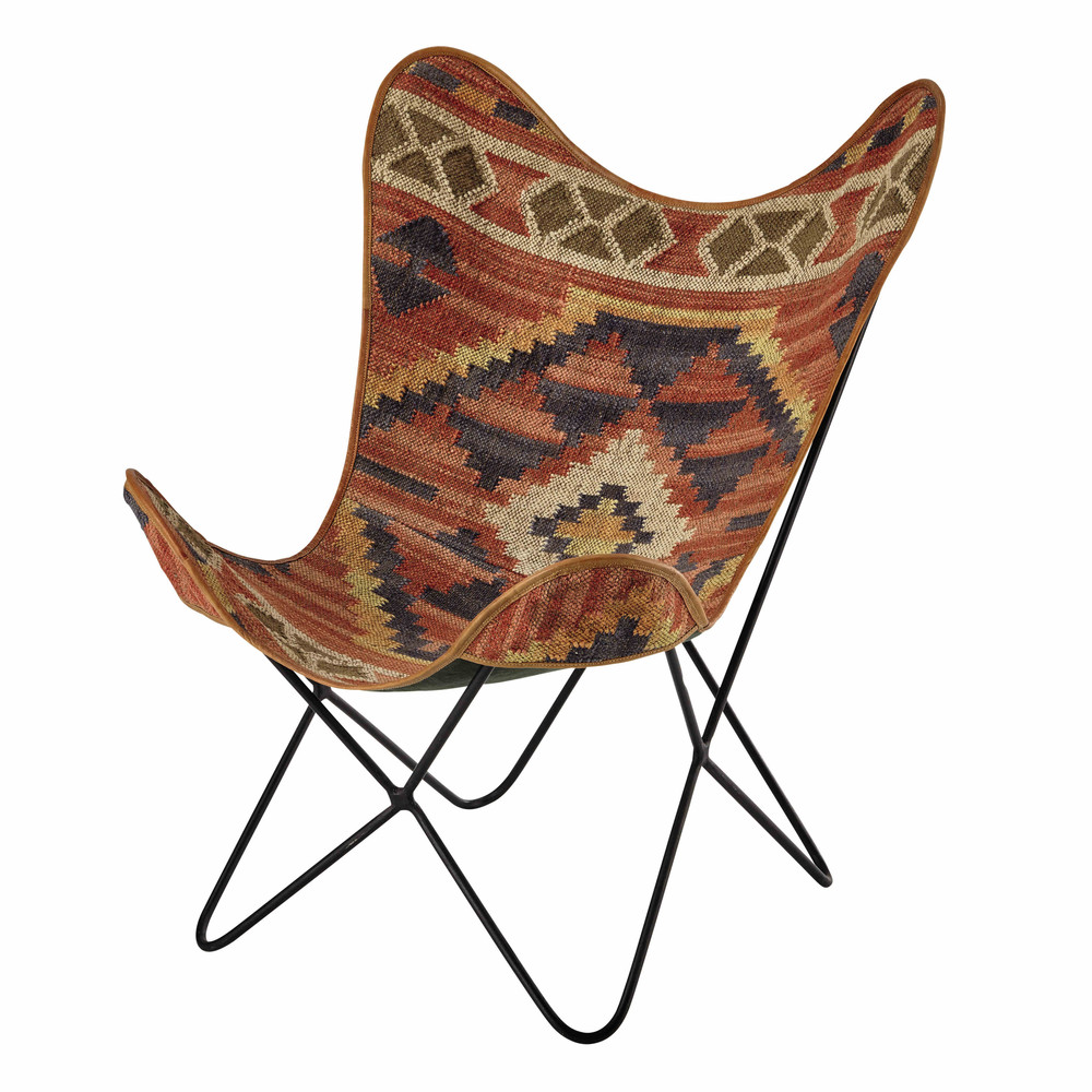 fauteuil en kilim multicolore kilim maisons du monde. Black Bedroom Furniture Sets. Home Design Ideas