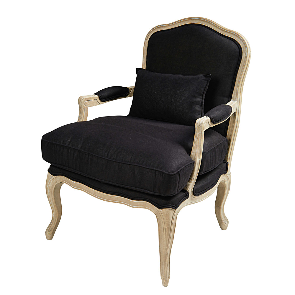 fauteuil en lin lav noir ch teau maisons du monde. Black Bedroom Furniture Sets. Home Design Ideas