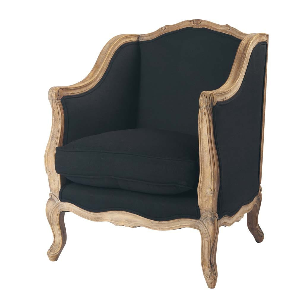 fauteuil en lin noir archibald maisons du monde. Black Bedroom Furniture Sets. Home Design Ideas