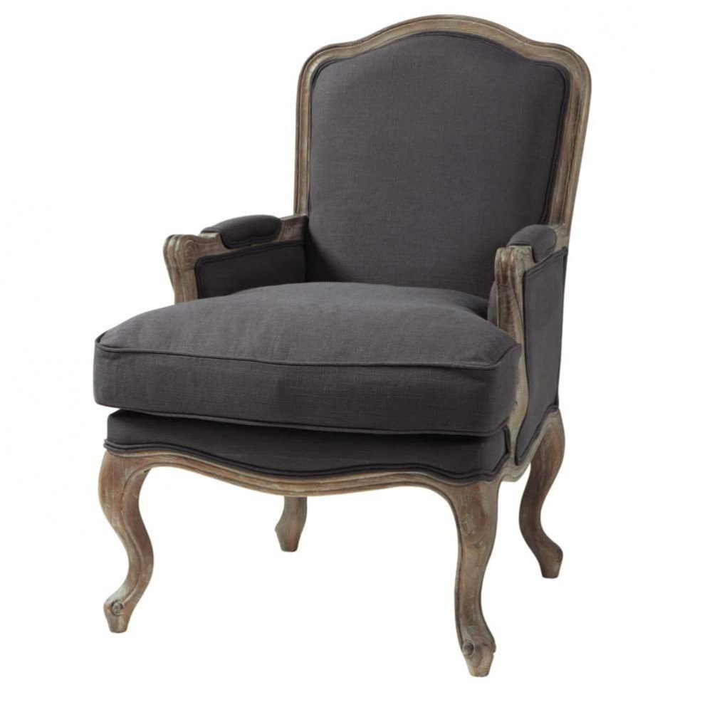 fauteuil en lin taupe gris ch teau maisons du monde. Black Bedroom Furniture Sets. Home Design Ideas