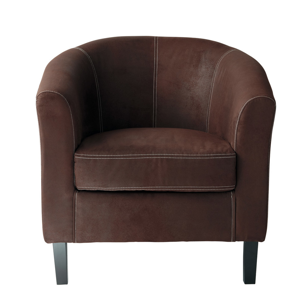 fauteuil en microfibre marron baltimore maisons du monde. Black Bedroom Furniture Sets. Home Design Ideas