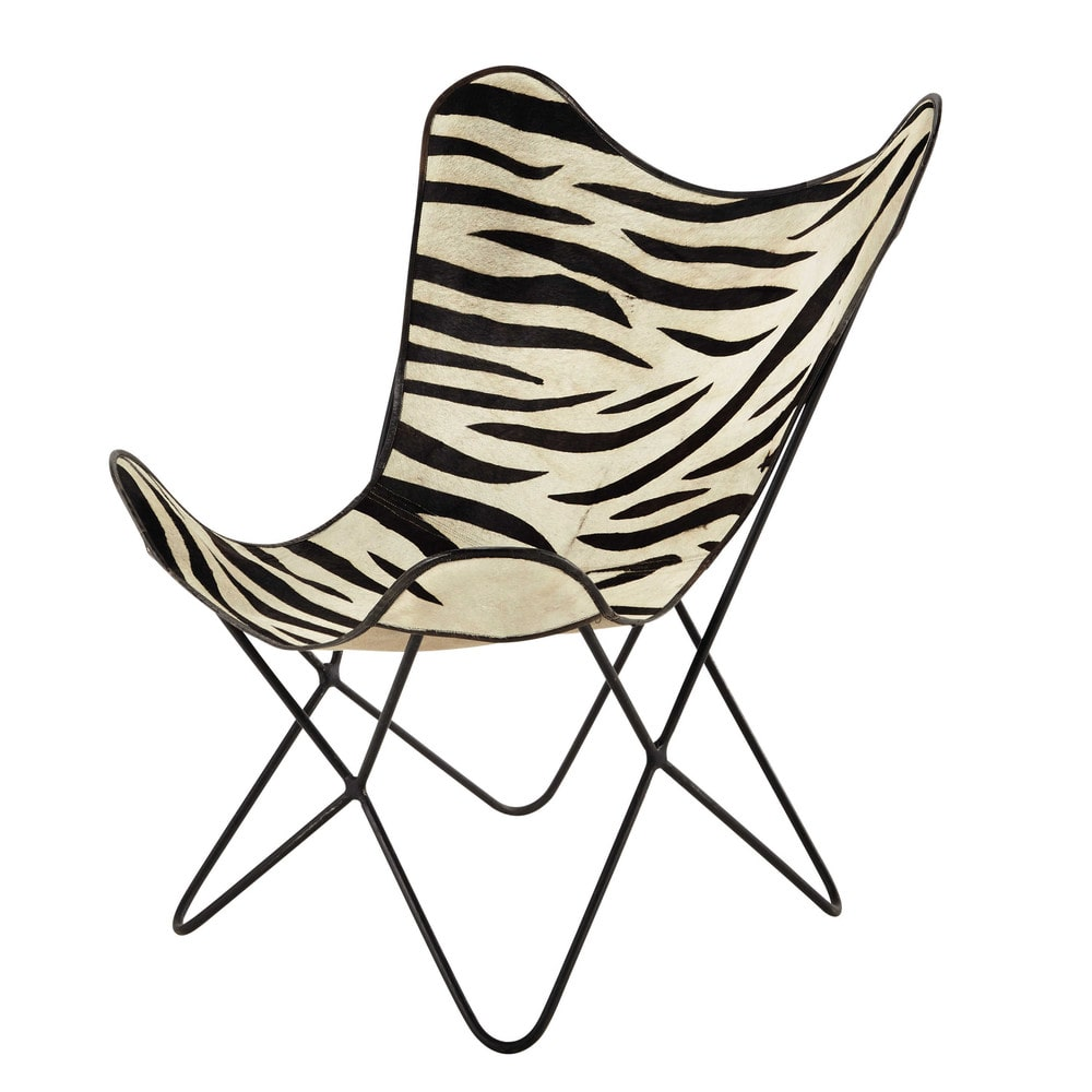 fauteuil en peau de vache z br e noir blanc zebra maisons du monde. Black Bedroom Furniture Sets. Home Design Ideas